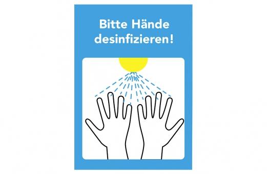 Set 3x Aufkleber Bitte Hände desinfizieren A3