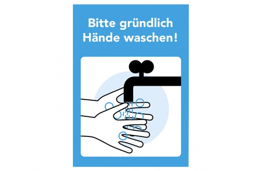 Set 3x Aufkleber Bitte Hände waschen A4