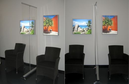Mobiler Spuckschutz - Rollup glasklar 100 cm