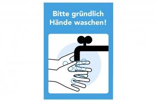Set 3x Aufkleber Bitte Hände waschen A3
