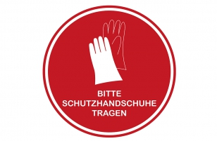 Aufkleber Handschuhe rot 30 cm rund
