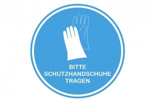 Aufkleber Handschuhe blau 30 cm rund